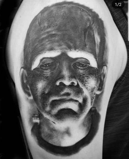 Black and Gray Frankenstein Portrait Tattoo by Alix at Certified Tattoo Studios Denver Co 3.jpg