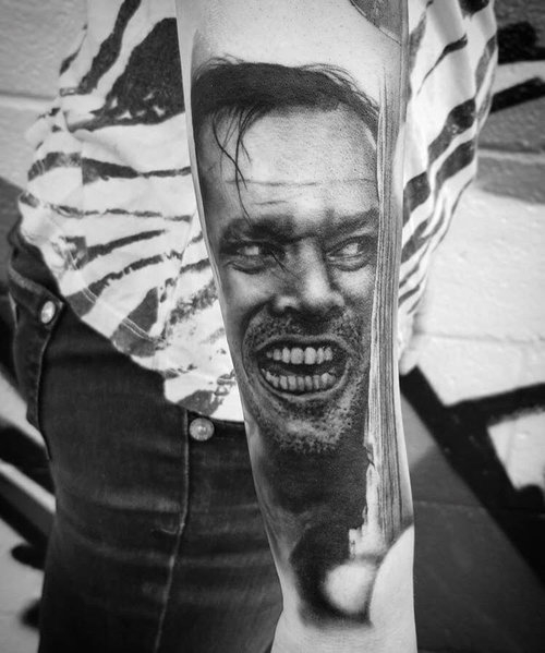 Black and Gray The Shining Portrait by Alix at Certified Tattoo Studios Denver Co.jpg
