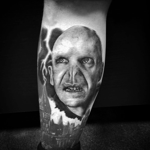Black and Gray Lord Voldemort Tattoo by Alix at Certified Tattoo Studios Denver Co.jpg