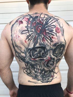 Black and Gray Skull Tattoo by Skyler Espinoza at Certified Tattoo Studios in Denver Co.jpg