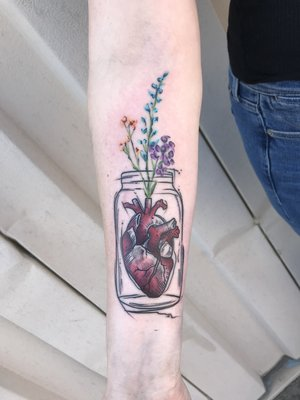 Custom Water Color Tattoo by Skyler Espinoza at Certified Tattoo Studios in Denver Co.jpg