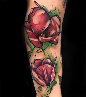 Water Color Flower Tattoo by Skyler Espinoza at Certified Tattoo Studios in Denver Co.jpg