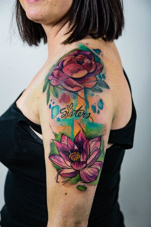 Water Color Flowers Tattoo by Skyler Espinoza at Certified Tattoo Studios in Denver Co.jpg