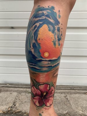 Water Color Sun Tattoo by Skyler Espinoza at Certified Tattoo Studios in Denver Co.jpg
