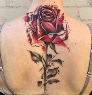 Water Color Rose Tattoo by Skyler Espinoza at Certified Tattoo Studios in Denver Co.jpg