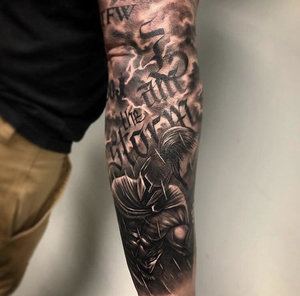 Black and Gray Custom Lettering Tattoo by Bryan Alfaro at Certified Tatto Studios in Denver Co.jpg