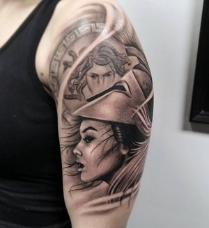 Black and Gray Custom Versace Tattoo by Bryan Alfaro at Certified Tatto Studios in Denver Co.jpg