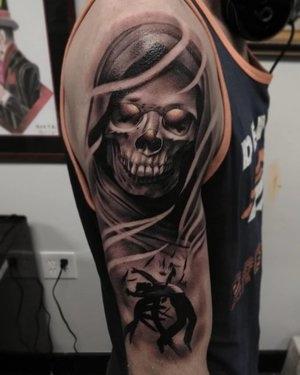 Black and Gray Skull Tattoo by Bryan Alfaro at Certified Tatto Studios in Denver Co.jpg