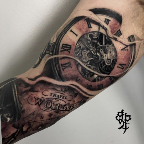 Custom Black and Gray Clock Time Travel Tattoo by Greg at Certified Tattoo Studios Denver Co.jpg
