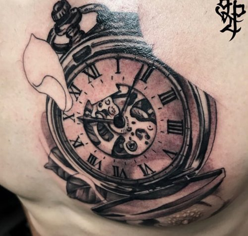 Custom Black and gray Clock with Roman Numerals Tattoo by Greg at Certified Tattoo Studios Denver Co.jpg