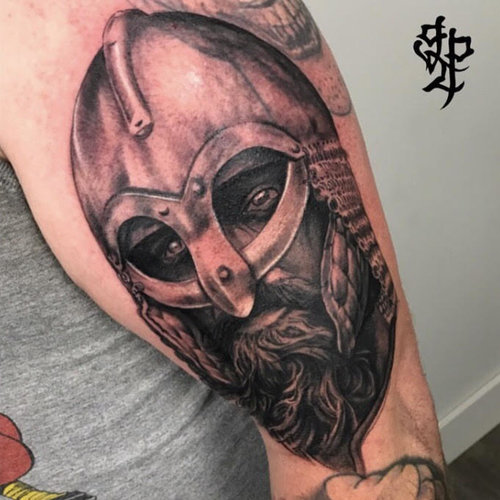 Custom Black and Gray Warrior Tattoo by Greg at Certified Tattoo Studios Denver Co.jpg
