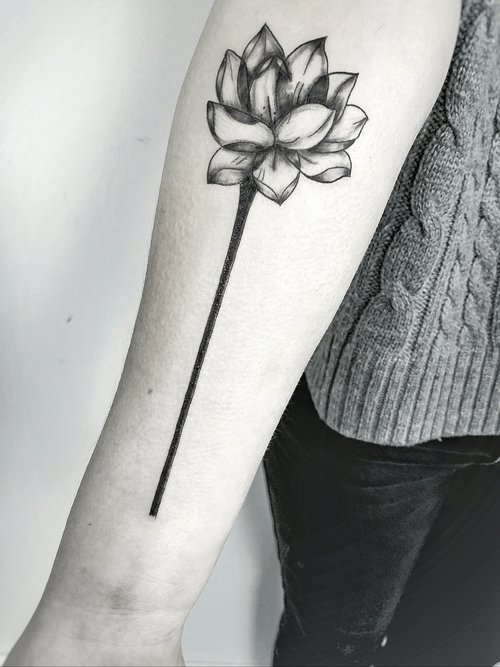 Custom Black and Gray Flower Tattoo by Dani at Certified Tattoo Studios Denver Co.jpg