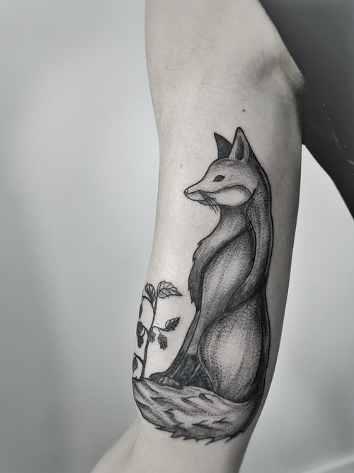 Custom Black and Gray Fox with Flowers Tattoo by Dani at Certified Tattoo Studios Denver Co.jpeg