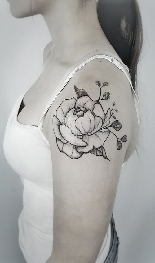 Custom Black Peony Flower and Gray Tattoo by Dani at Certified Tattoo Studios Denver Co.jpeg