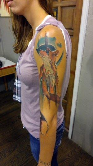 Custom Color Illustrative Fox Sleeve Tattoo by DavidP at Certified Tattoo Studios Denver Co.jpg