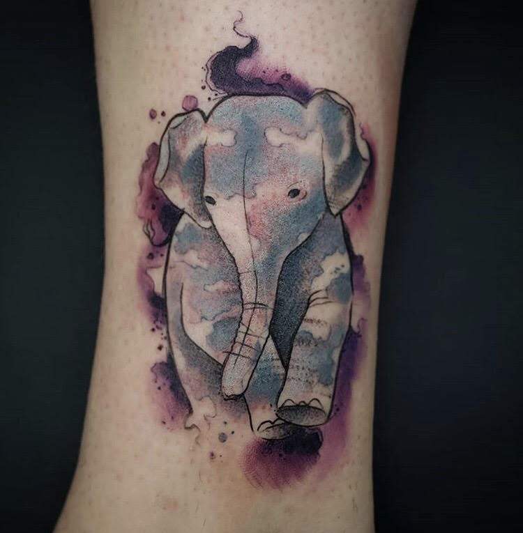 Custom Water Color Elephant Tattoo by Jeff at Certified Tattoo Studios Denver Co.jpg