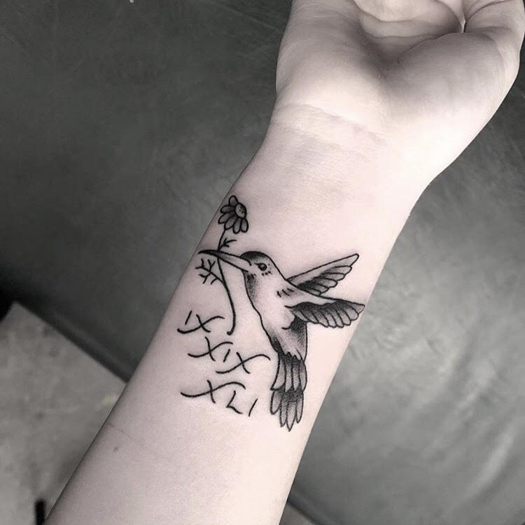 Black and Gray Humming Bird and Flowers Tattoo by Spencer at Certified Tattoo Studios Denver Co.jpg