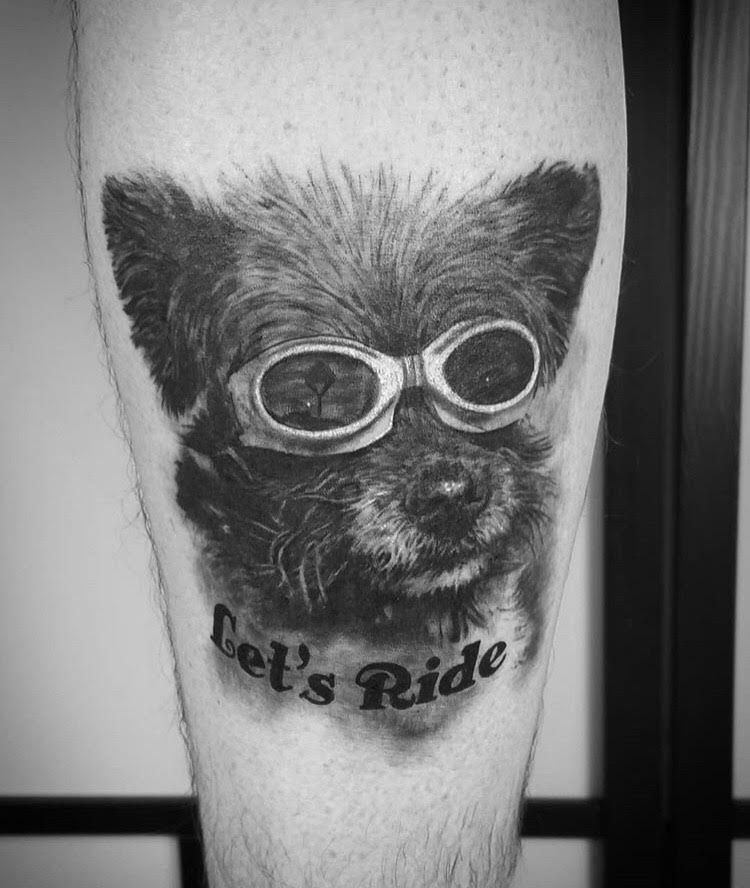 Black and Gray Cool Dog LETS RIDE Tattoo by Alix at Certified Tattoo Studios Denver Co.jpg