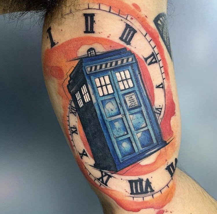 Custom Water Color DR WhoTattoo by Skyler Espinoza at Certified Tattoo Studios in Denver Co.jpg