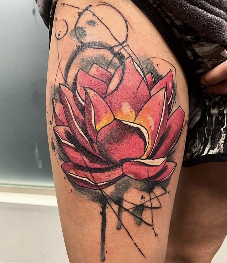 Custom Water Color Lilly Tattoo by Skyler Espinoza at Certified Tattoo Studios in Denver Co 1.jpg