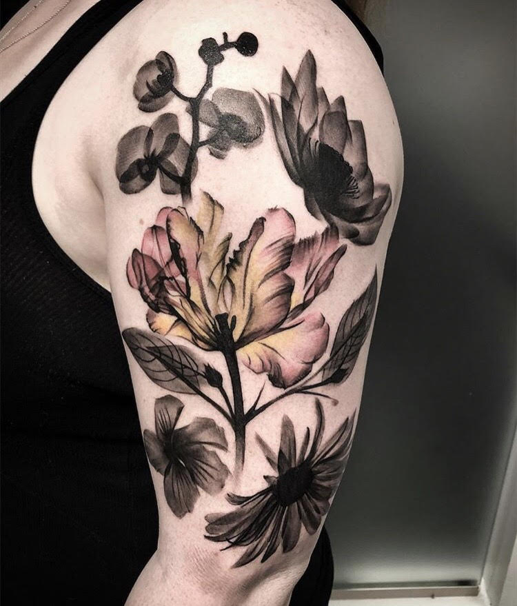 Custom-black-and-grey With Color Flowers -tattoo-by-+Bryan+Alfaro+at-certified-customs-denver-co-8.jpg