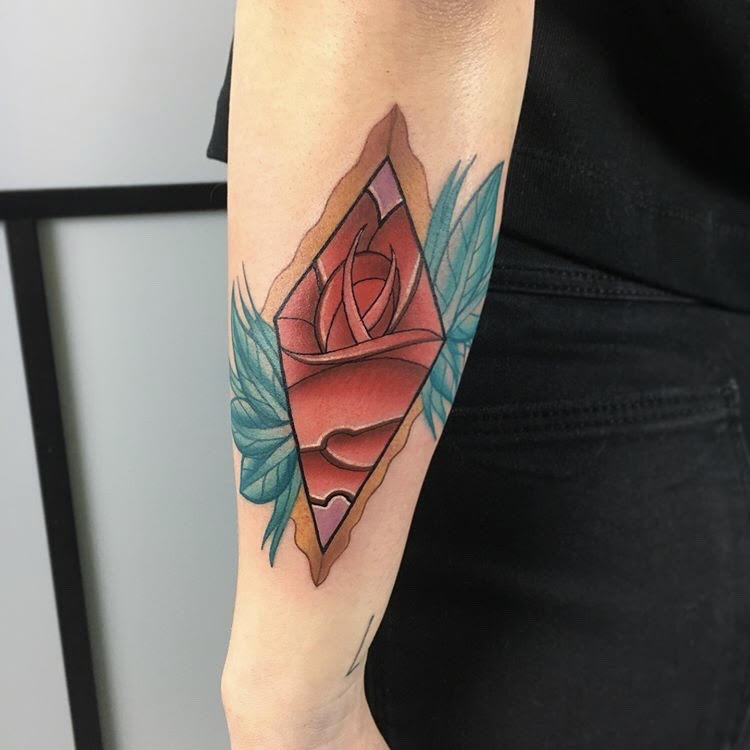 Custom Color Geometric Pink Rose Tattoo by BJ at Certified Tattoo Studios Denver CO.jpg