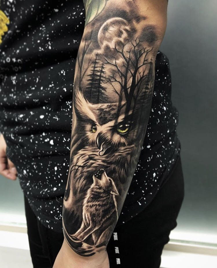 Custom Black and Grey Owl and Wolves  Tattoo by Bryan at Certified Tattoo Studios Denver CO.jpg