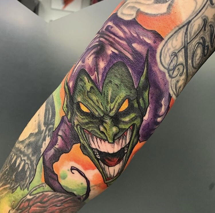 Custom Water Color Green Goblin SpidermanTattoo by Skyler Espinoza at Certified Tattoo Studios in Denver Co.jpg