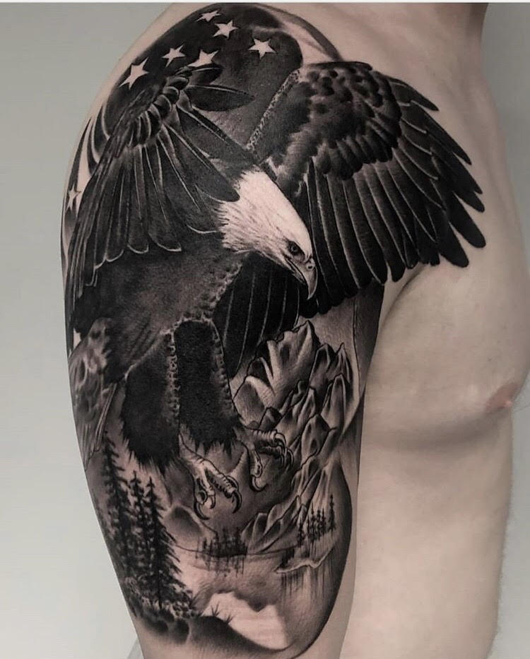 Custom Black and Gray Soaring Eagle and Mountains Tattoo by Ramon at Certified Tattoo Studios Denver Co.jpg