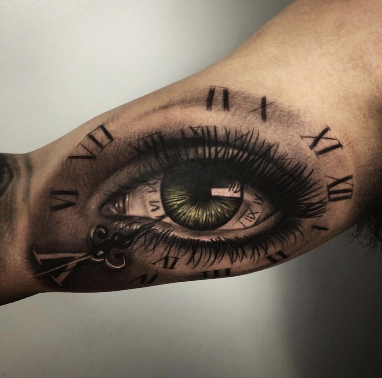 Custom-black-and-grey- and Green Eye with Clock  tattoo-by-+Bryan+Alfaro+at-certified-customs-denver-co-6.jpg