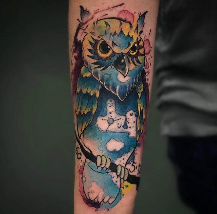 Custom Water Color Owl Tattoo by Jeff at Certified Tattoo Studios Denver Co.jpg