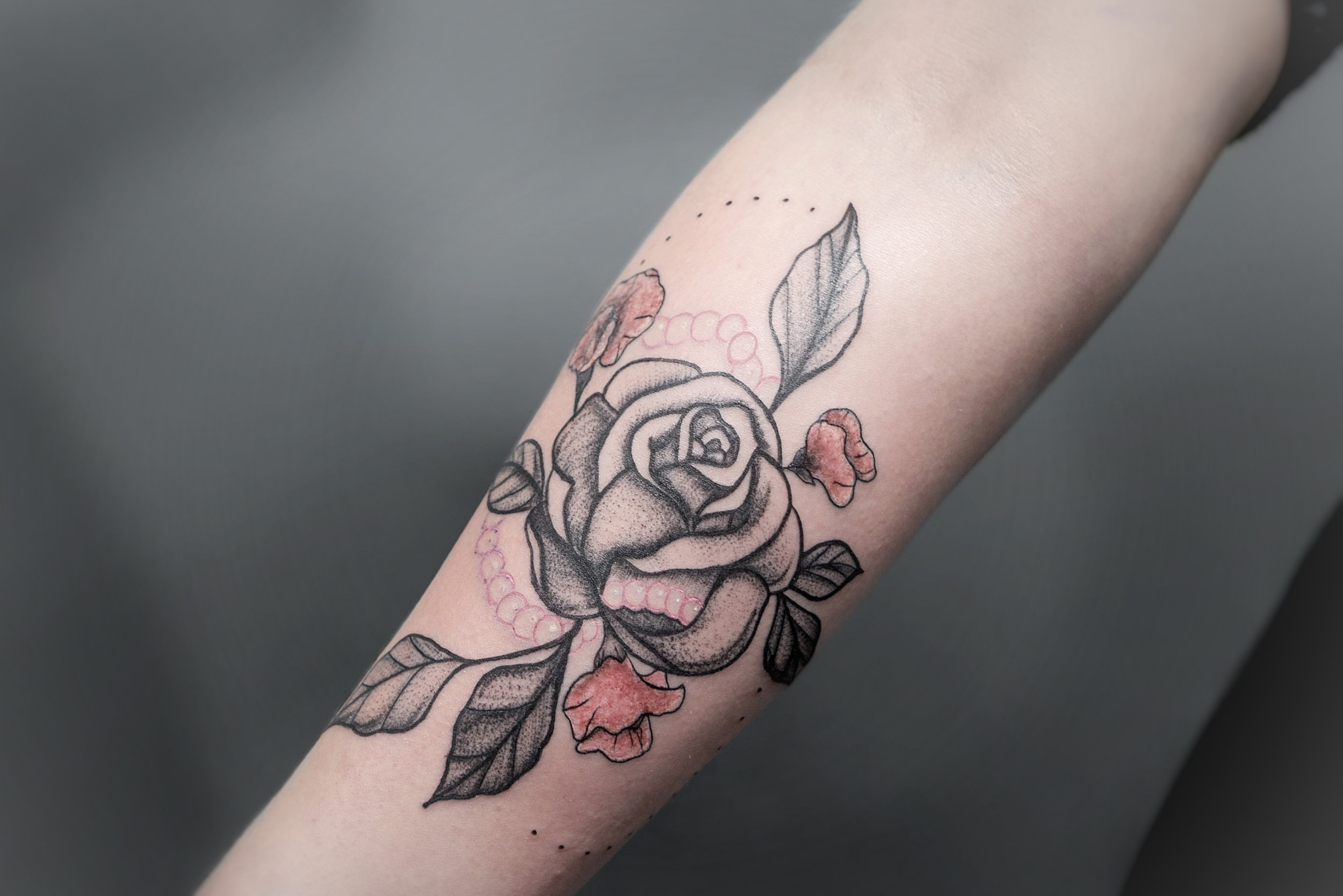 Custom Black and Grey with Rose Tattoo by Dani at Certified Tattoo Studios Denver Co.jpg