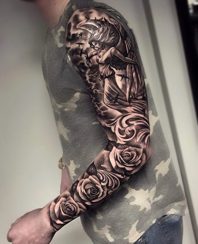 Custom Black and Grey Angel in the Sky and Roses Full Sleeve Tattoo  by Bryan at Certified Tattoo Studios Denver CO.jpg