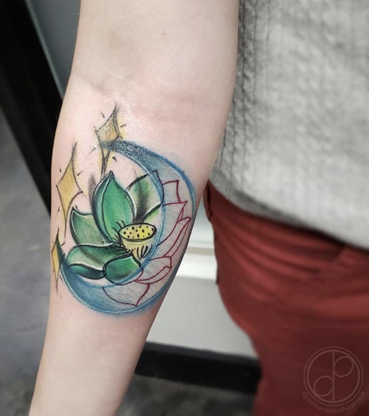 Custom Water Color Lily and Crescent Moon Tattoo by David At Certified Tattoo Studios Denver CO.jpg