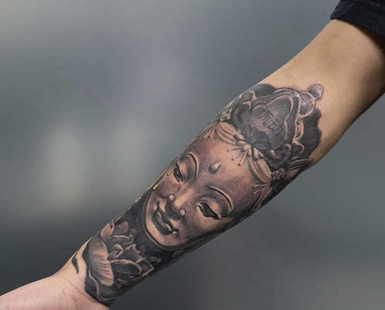 Custom Black and Grey Buddha Portait Tatto by Greg at Certified TAttoo Studios denver Co.jpg