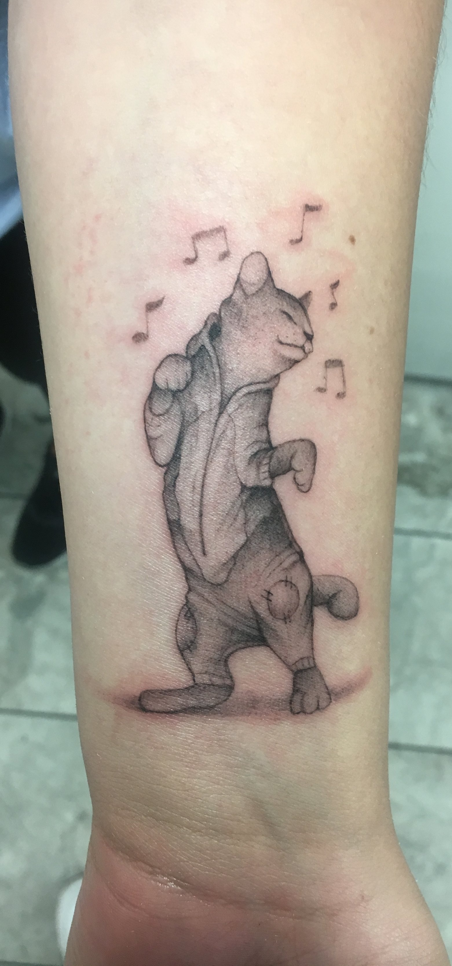 Custom Black Work Dancing Cat Tattoo by  BJ at Certified Tattoo Studios Denver Co  (1).JPG