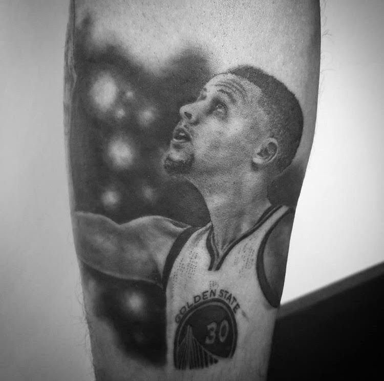 Custom Black and Grey Steph Curry Portrait Tattoo by Alix at Certified Tattoo Studios Denver Co.jpg