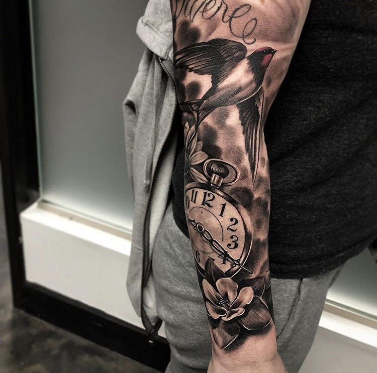 Custom Black and Grey Arm Sleeve with Sparrow Bird A Clock and Columbine Flower Tattoo by Bryan at Certified Tattoo Studios Denver Co.jpg