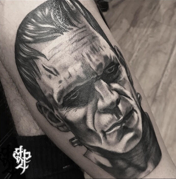 Custom Black and Grey Monster of Frankenstein  Tattoo by Greg Paquin at Certified Tattoo Studios Denver Co.jpg