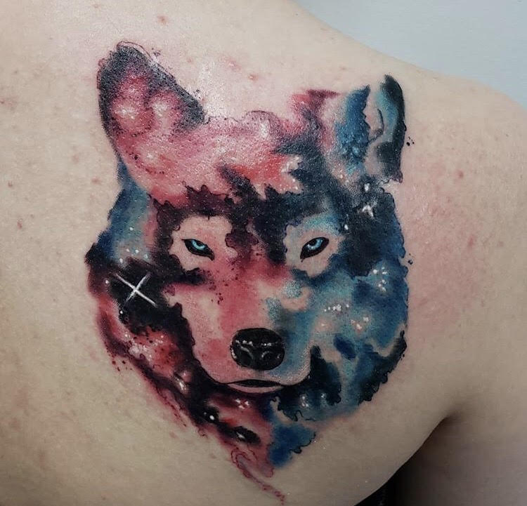 Custom Water Color Galaxy Wolf Portrait Tattoo by Jeff  at Certified Tattoo Studios Denver Co.jpg