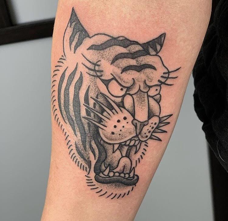 Custom Traditional Roaring Tiger Tattoo by Jorden  at Certified Tattoo Studios Denver Co.jpg