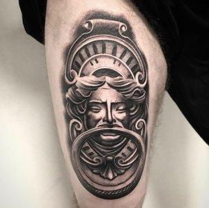Custom Black and Grey Antique Door Knocker  Tattoo by Salvador Diaz at Certified Tattoo Studios in Denver Co (6).jpg