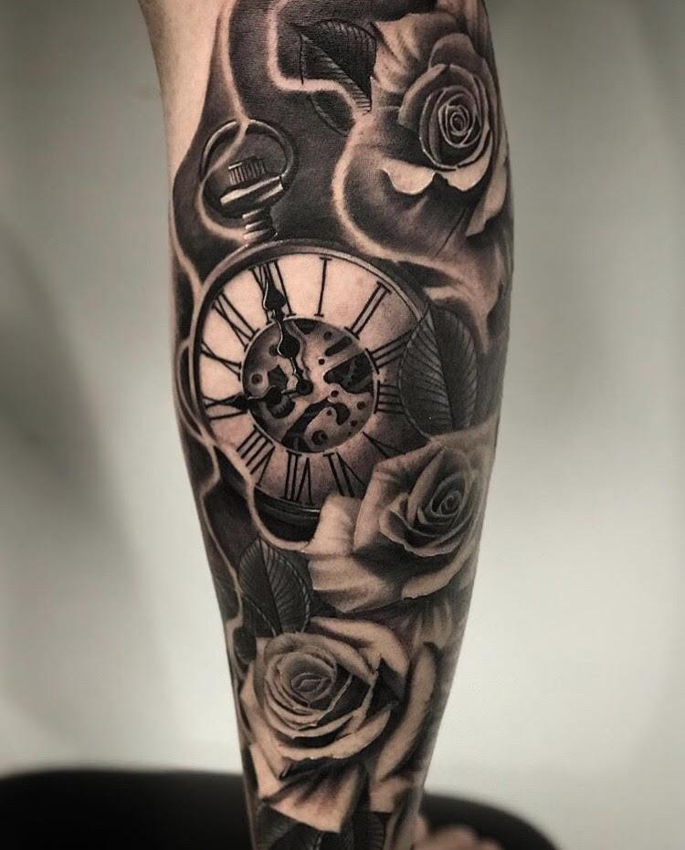 Custom Black and Grey Clock in Smoke and Roses Tattoo by Salvador Diaz at Certified Tattoo Studios in Denver Co (46).jpg