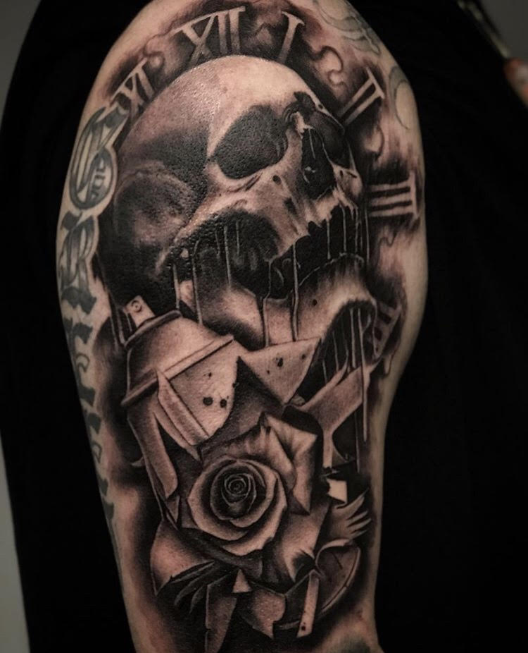 Custom Black and Grey Dripping Skull with Spray Paint and a Rose Tattoo by Salvador Diaz at Certified Tattoo Studios in Denver Co (47).jpg