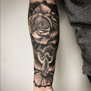 Custom Black and Grey Flying Dove and Rose  Tattoo by Salvador Diaz at Certified Tattoo Studios in Denver Co (27).jpg