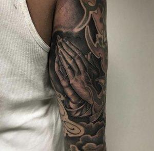 Custom Black and Grey Praying Hands Tattoo by Salvador Diaz at Certified Tattoo Studios in Denver Co (26).jpg