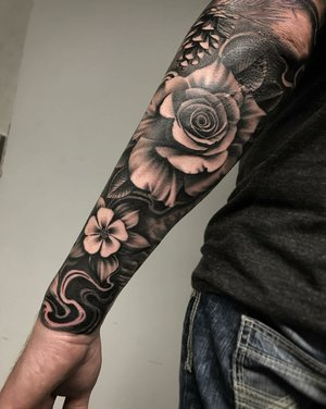 Custom Black and Grey Rose and Columbine Flower  Tattoo by Salvador Diaz at Certified Tattoo Studios in Denver Co (32).jpg