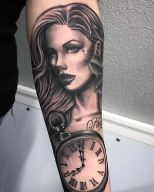 Custom Black and Grey Woman Portrait with a Clock   Tattoo by Salvador Diaz at Certified Tattoo Studios in Denver Co (3).png