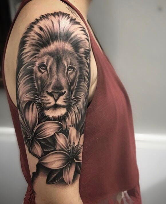 Custom Black and Grey Lion Head and Lillies Tattoo by Salvador Diaz at Certified Tattoo Studios Denver Co.jpg