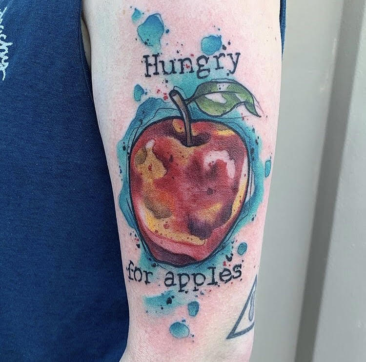 Custom Water Color Hungry for Apples Tattoo by Skyler at Certified Tatoo Studios Denver Co.jpg